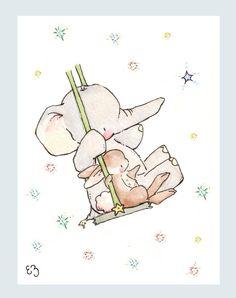 Children Art Print. Bunny and Elephant Swing for the Stars. PRINT 8X10. Nursery Art Home Decor. $24.00, via Etsy.