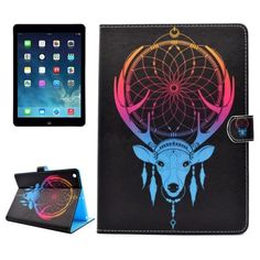For+iPad+Air/iPad+5+Antlers+Pattern+Leather+Case+with+Holder;+Card+Slots+&+Wallet