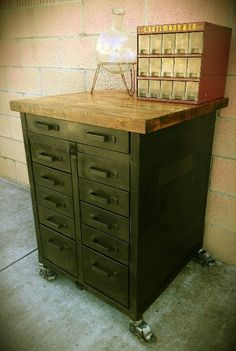 Rolling apothecary cabinet with chopping block top / kitchen island / workbench