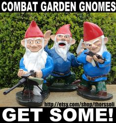 Combat Garden Gnomes: Gearing Up for the Holidays Funny Garden Gnomes, Yard Gnomes, Gnome Garden, Garden Pond, Lawn Ornaments, Garden Ornaments, Holidays Halloween, Halloween Kids, Gnome Statues