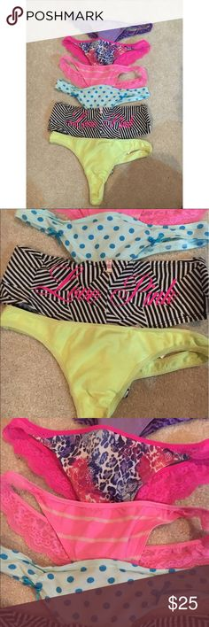 PINK VS Panties All in EUC worn once maybe twice! One pair is cheeky and the rest are thongs💕                                     🔴Shirts, shoes, and shorts/pants buy one get one half off‼️ 🔴Victoria's Secret items buy one get one 25% off‼️ 🔆Discounts are applied to lower priced items only 🔴Buy 3 shirts get one free at equal or lower cost of the highest priced shirt‼️ 🔆 Only one of these deals can be used at a time unless you bundle 5+ items, thank you🙂 PINK Victoria's Secret…