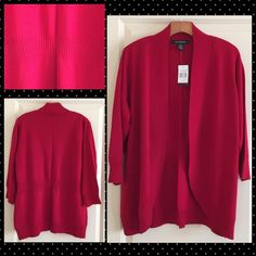 """89TH & MADISON Plus Size Open Front Cardigan Jester red open front cardigan. Gathered back, 3/4 sleeve. 54% cotton, 45% acrylic, 1% nylon. Approx:  armpit to armpit from the back - 23"""" across. 89TH & MADISON Sweaters Cardigans"""