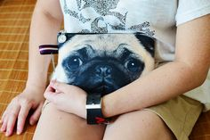 Pug purse-can DIY with fabric printer sheets from staples... going to make one ASAP of my Chihuahuas