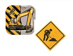 """Perfect for your """"men at work"""" party! This set features a square plate with an excavator and yellow napkins with a man digging. The napkins have a """"dirty"""" appearance on purpose to enhance the construc"""