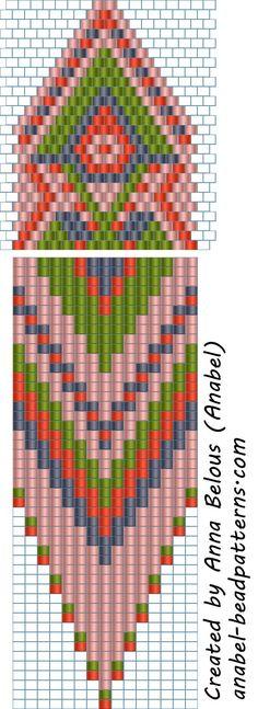 Схема бисерных сережек с бахромой - мозаика / кирпичное плетение