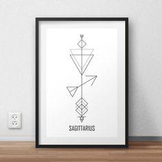 Astrology Arrows: Sagittarius Wall Art // Zodiac Signs // Digital Print // Minimalist // By Alcateia Art