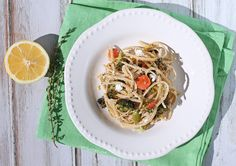 This Linguine with Roasted Vegetables and Goat Cheese tastes like Spring. Bright fresh lemon & herbs with rich, creamy cheese over pasta for just 312 calories! www.emilybites.com #healthy