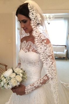 Satin Wedding Dresses A-line/Princess Off-the-shoulder Full/Long Sleeves Lace Bridal Wedding Dresses Western Wedding Dresses, Elegant Wedding Dress, Bridal Wedding Dresses, Dream Wedding Dresses, Wedding Venues, 2017 Wedding, Modest Wedding, Wedding Ceremony, Lace Bridal