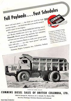 Cummins Engine Company, Inc. featuring a Walter 20-ton dump truck with a NHB-600 Cummins Diesel.
