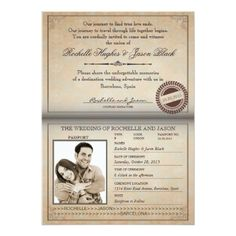 Destination Wedding Invitations Vintage Passport Invitation