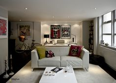 London Loft Apartment, Shoreditch by Magnus + Associates.  Living room with office