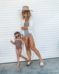 one piece swim for mom & daughter // white sandals // pool side hat Preety Girls, Little Girl Models, Call My Mom, One Piece Swim, Mom Daughter, White Sandals, Stylish Kids, Cool Baby Stuff, Mommy And Me