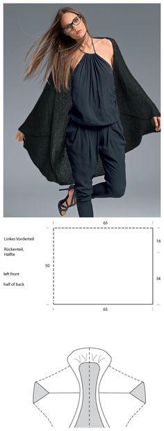 Strickanleitung für einen Seelenwärmer: Leichten Cardigan für den Sommer stricken / knitting pattern: oversized cardigan knit tutorial via lanagrossa.de