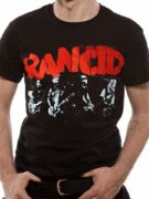 Officially Licensed Rancid imported T-shirt design printed on a black 100% cotton short sleeved T-shirt.