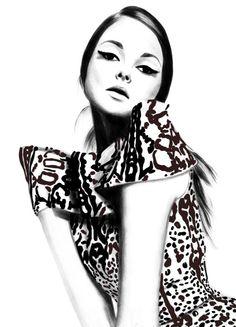 Kornelia Dębosz Fashion Illustrations #headtilt #wingedeyeliner #sitting