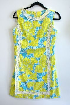 f559d29fd14 LILLY PULITZER Yellow Blue Multi Color Vintage Dress Crochet Trim Sz 8   LillyPulitzer