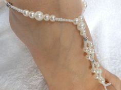 Barefoot Sandals Beach Wedding Yoga Shoes Foot Jewelry Beads Pearls