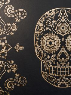 Mexican Day of the Dead Sugar Skull Wallpaper anatomyboutique.com