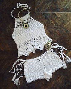 Crochet Lace Top and Shorts ,Festival Clothing ,Victorian Style Crochet Summer Tops, Crochet Halter Tops, Crochet Shorts, Crochet Clothes, Crochet Bikini Pattern, Crochet Bikini Top, Pull Crochet, Knit Crochet, Mode Hippie