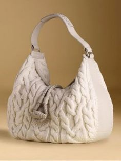 beautiful cable knit & leather bag