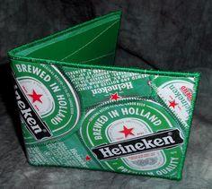 BiFold Wallet from Repurposed Heineken Beer labels by squigglechick, $30.00