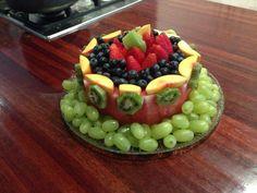 New fruit platter cake ideas Fruit Dishes, Fruit Snacks, Birthday Cake Alternatives, Fresh Fruit Cake, Cake Made Of Fruit, Fruit Cakes, Fruit Birthday Cake, Healthy Birthday Cakes, Watermelon Cake
