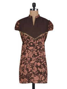 Buy Vastra Vinod Brown Cotton Floral Print Kurti Online, , LimeRoad
