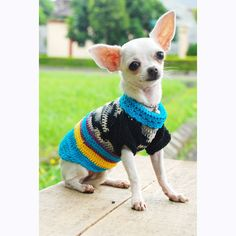 Dog Clothes Crocheted Puppy Sweater Pet Cotton Clothing by myknitt, $33.00