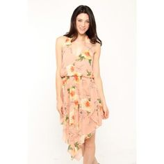 Asymmetrical Floral Halter Dress