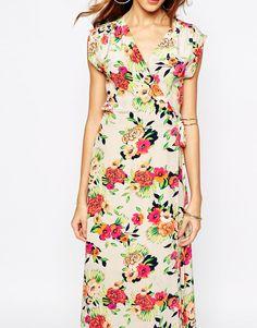 Immagine 3 di Yumi - Kim - Vestito lungo a portafoglio in seta con stampa di peonie