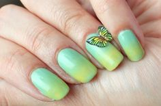 Polished Polyglot:  gradient + butterflyshaped nail decoration