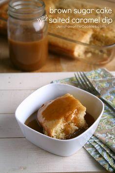 Brown Sugar Cake with Salted Caramel Dip from Jens Favorite Cookies