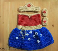 """Crochet """"Wonder Woman"""" Inspired Baby Photography Prop - Made to Order by CocoBabyDesigns on Etsy https://www.etsy.com/listing/192259659/crochet-wonder-woman-inspired-baby"""