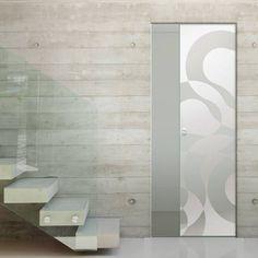 Eclisse 10mm Illusione Sandblasted Design on Clear or Satin Glass Syntesis Pocket Door.    #glassdoor  #framelessglassdoor  #pocketglassdoor