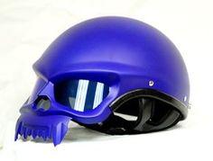 MASEI MATT BLUE SKULL 429 MOTORCYCLE CHOPPER DOT HELMET FOR HARLEY DAVIDSON BIKER
