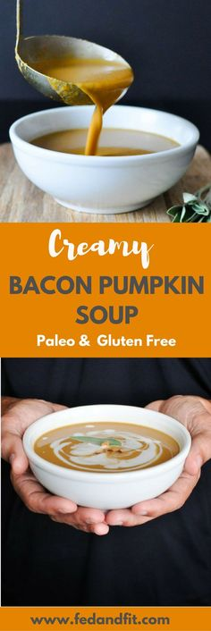 Four Kitchen Decorating Suggestions Which Can Be Cheap And Simple To Carry Out This Paleo Bacon Pumpkin Soup Is Totally Dairy Free And Made Creamy With Coconut Milk. It Is The Perfect Healthy And Comforting Winter Meal That Still Feels Indulgent Sugar Detox Recipes, Milk Recipes, Paleo Recipes, Soup Recipes, Free Recipes, Paleo Bacon, Paleo Soup, Paleo Pizza