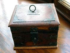Antique Wooden Box Circa 1890 Hand Crafted Detailed Metal Decoration Boxes photo