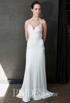 "Brides.com: Temperley Bridal - Spring 2015. ""Celine"" sleeveless silk satin sheath wedding dress with a deep sweetheart neckline and jeweled straps, Temperley Bridal"