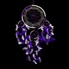 "Dream Catcher ~ Handmade Traditional Purple & White 8.5"" Diameter 24"" Long. The Native American dream catcher bedroom decor when hung over or near your bed swinging freely in the air, traps the bad dreams while letting good dreams go through."
