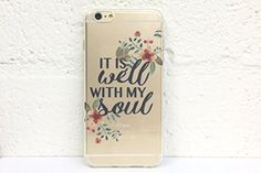 Clear Plastic Case Cover for Apple iPhone 5/5S - IT IS WELL WITH MY SOUL Floral Flower Spring Scripture Art Bible Verse Inspirational Quote Religious Christian Transparent Case Gel Silicone Rubber Gift ProneToWander