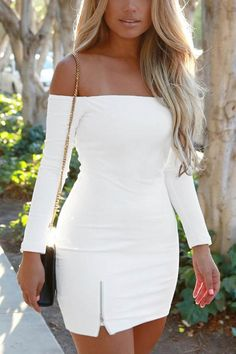 Look fresh with flair by wearing this white off-shoulder mini dress…