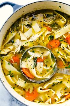 Literally the BEST Chicken Noodle Soup has thick chicken chunks, sliced carrots and celery, wide noodles soaking in a smooth chicken broth filled with flavorful seasonings and cooked to perfection. A warm and comforting soup this winter! Easy Soup Recipes, Cooking Recipes, Healthy Recipes, Healthy Fall Soups, Healthy Pizza, Healthy Protein, Noodle Recipes, Healthy Soup, Best Chicken Noodle Soup