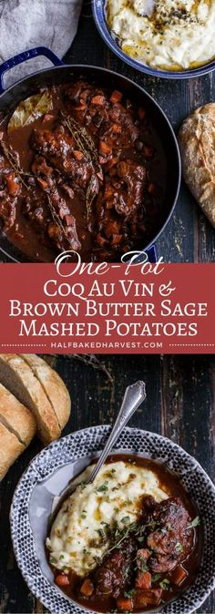 One-Pot 45 Minute Coq au Vin with Brown Butter Sage Mashed Potatoes – Gesundes Abendessen, Vegetarische Rezepte, Vegane Desserts, Frango Chicken, Half Baked Harvest, One Pot Meals, Easy Meals, Brown Butter, Thanksgiving Recipes, Carne, Entrees, Main Dishes