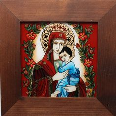 Orthodox Icons, Religious Art, Madonna, Folk, Romania, Glass, Postcards, Painting, Child
