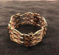 Reindeer moss bronze cuff bracelet by MJretrose on Etsy