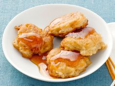 """Apple Latkes from FoodNetwork.com...Nigella takes a sweet route with her potato pancakes: """"These are sweet, gorgeous fritters to be eaten straight from the pan and drenched with maple syrup."""""""