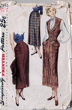 Simplicity 2943 Vintage 1940s Slim pencil long wool tweed vest pockets Skirt to early 50s looks style vintage   Weskit Pattern B32