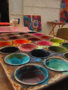 Flora Bowley - like how she uses muffin tins to mix her colors. Definitely stealing this idea!