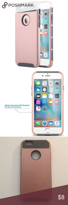 iPhone 6s Plus case - rose gold & gray Slim sleek light weight case design adds little extra bulk to your iPhone 6s Plus Raised lip bevel for protecting display screen from flat surface, keeping your iPhone screen clean and scratch-free. Stylish slim modern design; colorful fashion protective.                                                                         Gently used with a few barely visible scratches.         20% off bundles!  Accessories Phone Cases