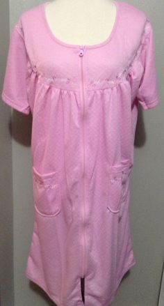 Sag Harbor Zip Quilted Embroidered Floral Pink Night Gown House Dress coat XL #SagHarbor #Gown #Everyday